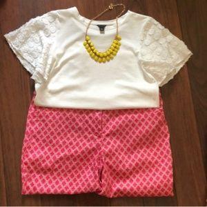 Laundry Pink and White Bermuda shorts